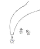 Baby and Children's Earrings and Necklace Sets:  Sterling Silver Flower Jewellery Sets with Emerald CZ