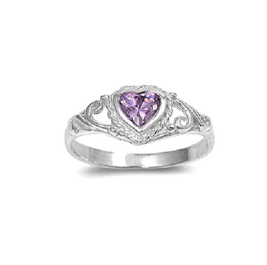Children's Rings:  Sterling Silver Amethyst CZ Heart Ring Size 5