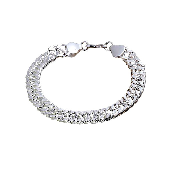 "Baby Bracelets:  Sterling Silver Chunky Flat Cuban Curb Baby Bracelets with a ""twist"""