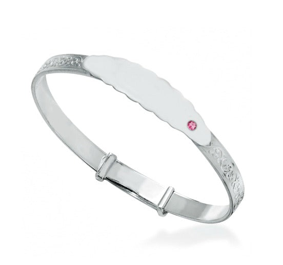 Baby Bangles:  Sterling Silver Embossed ID Bangle with Pink CZ Age 3 -18 Months, with Gift Box