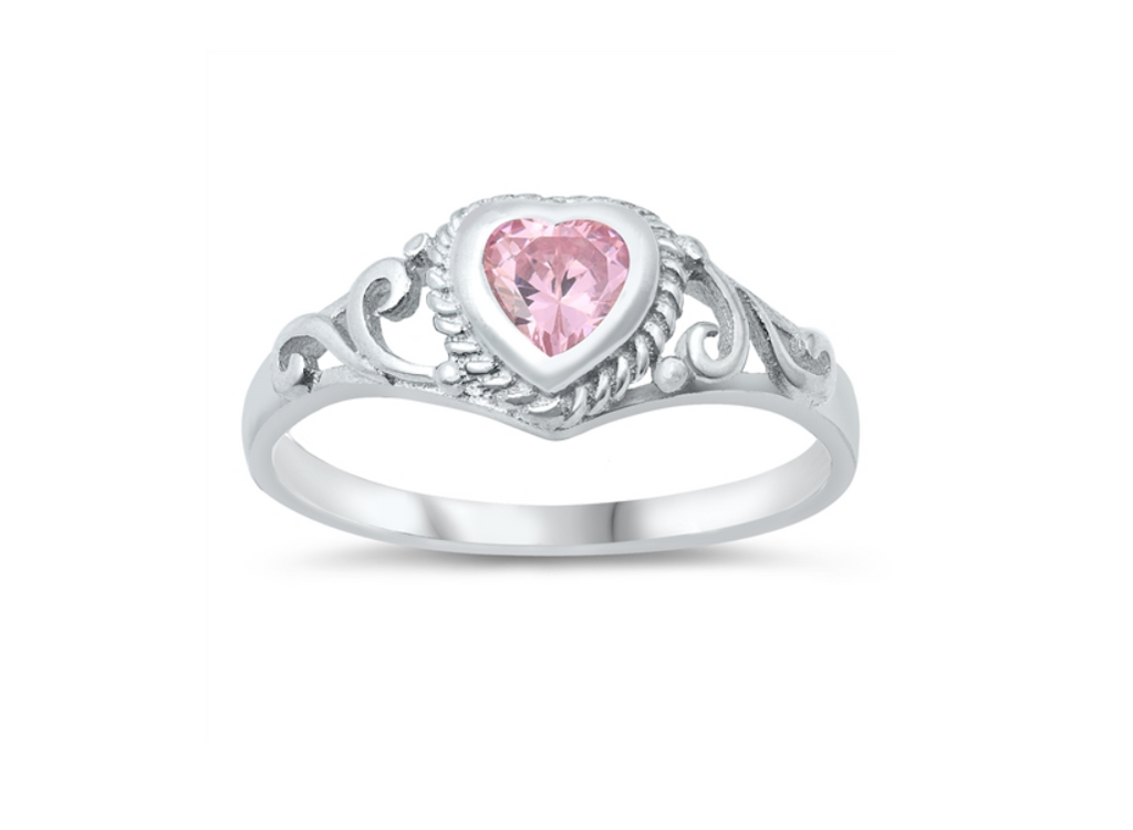 Children's Rings:  Sterling Silver Baby Pink CZ Heart Ring Size 3