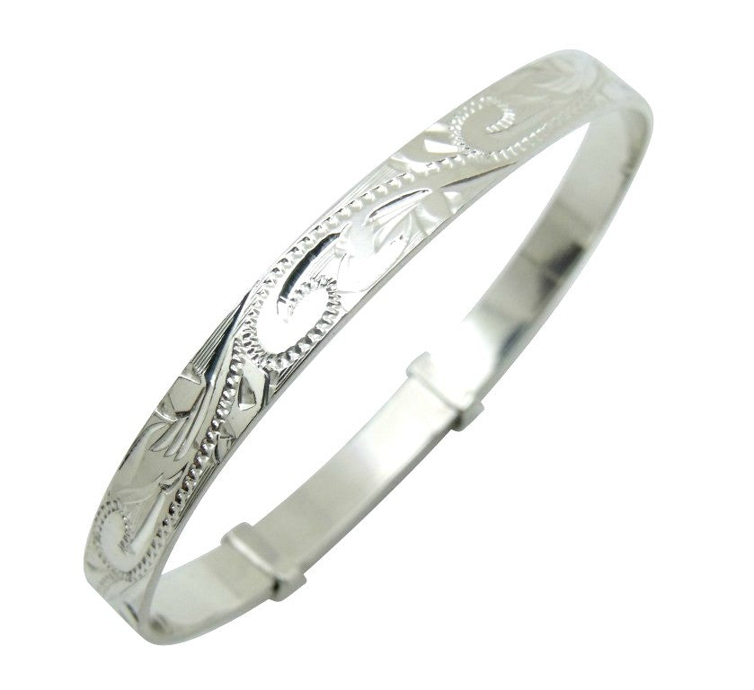 Children's Bracelets:  Sterling Silver, Hand Made, Superbly Engraved, Adjustable Maid's Bangles