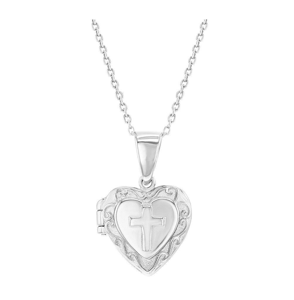 Children's Necklaces:  Sterling Silver Cross Heart Locket Necklaces