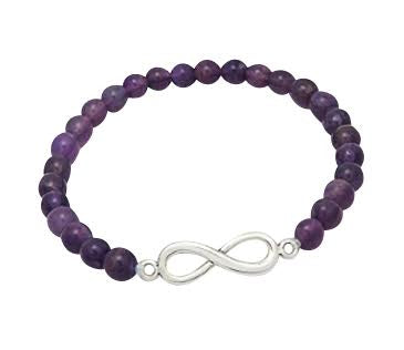 Teens' and Children's Bracelets:  Sterling Silver Infinity on Genuine Amethyst Ball Bracelets