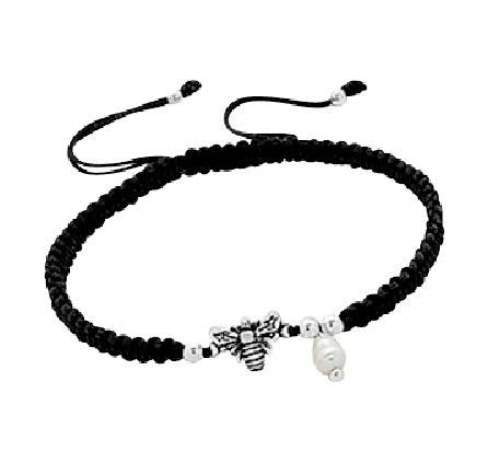 Children's Bracelets:  Sterling Silver Bee, Freshwater Pearl, Children's Friendship Bracelets
