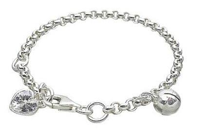 Baby Bracelets:  Sterling Silver Rolo Baby Bracelet with Bell and CZ Heart