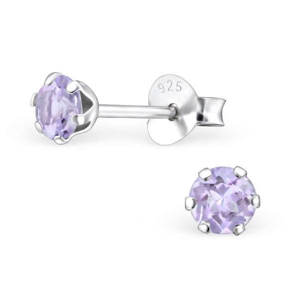 Children's Earrings:  Sterling Silver Genuine Light Amethyst (Argento) Studs