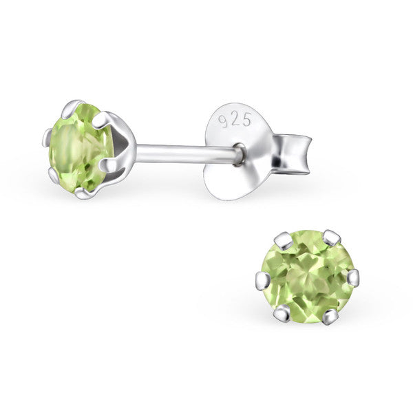Children's Earrings:  Sterling Silver Genuine Peridot Studs