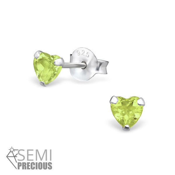 Baby and Children's Earrings:  Sterling Silver August Birthstone (Peridot) Heart Studs 4mm