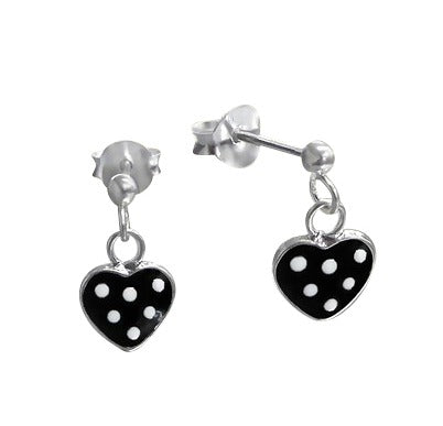 Children's Earrings:  Sterling Silver Black Heart Drop Earrings with White Spots
