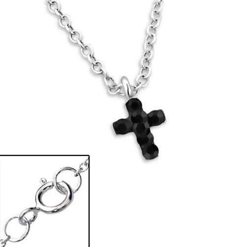 Baby and Children's Necklaces:  Sterling Silver with Jet Crystal Cross