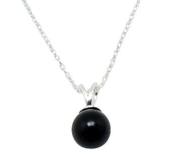 Mothers', Teenagers' and Children's Pendant Necklaces:  8mm Black Glass Pearl Pendant on Choice of Chains