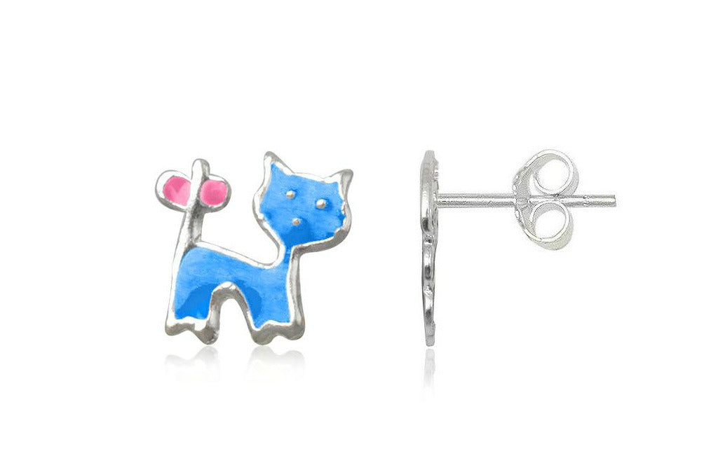 Baby and Children's Earrings:  Sterling Silver Blue/Pink Cat Earrings