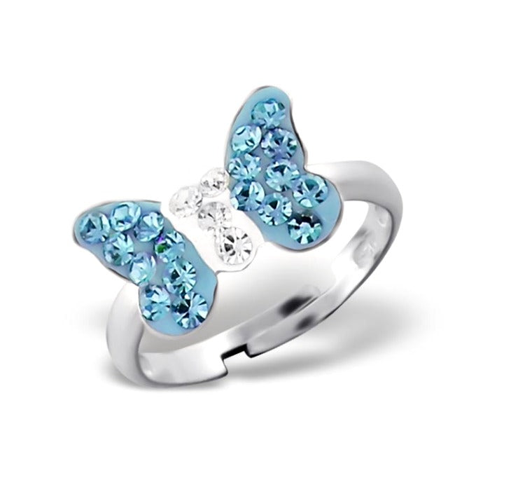 Children's Rings:  Sterling Silver Blue Crystal Butterfly Rings