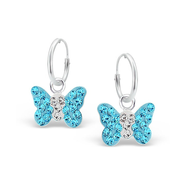 Children's Earrings:  Sterling Silver and Blue Crystal Butterfly Sleepers/Hoops