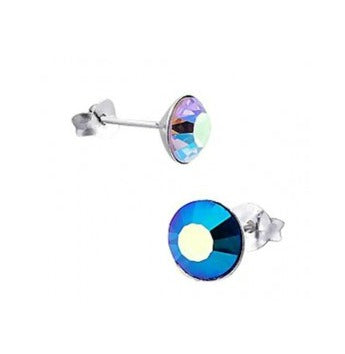 Children's Earrings:  Sterling Silver Blue Crystal Stud Earrings