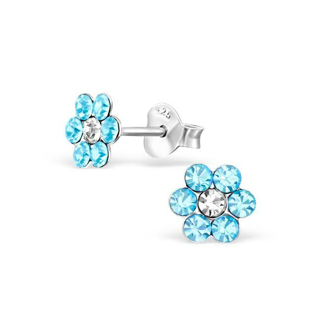Baby and Children's Earrings:  Sterling Silver Pale Blue Crystal Flowers