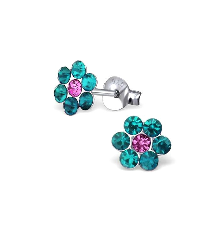 Baby and Children's Earrings:  Sterling Silver Aqua Crystal/Pink Centre Flowers