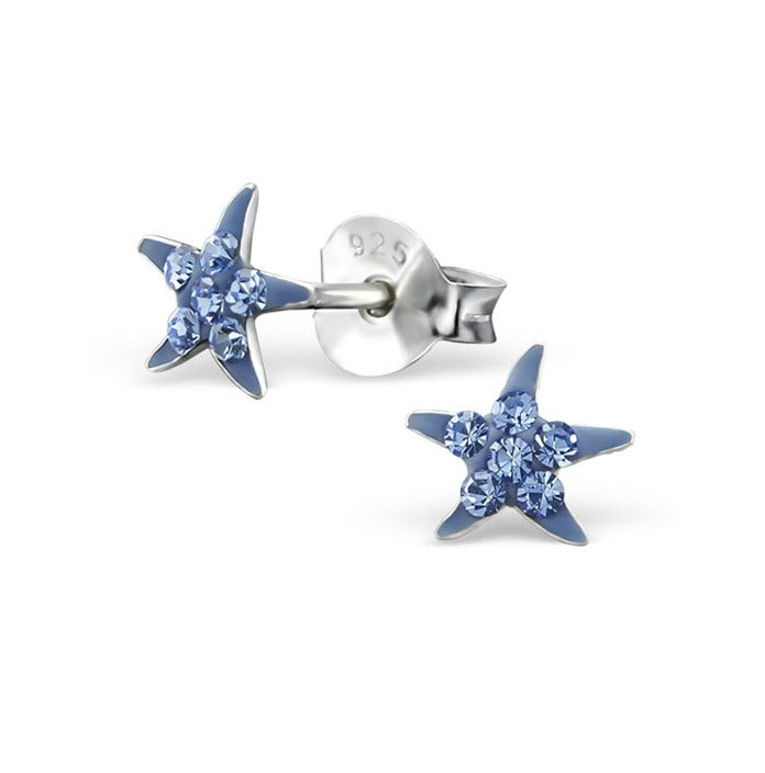 Baby and Children's Earrings:  Sterling Silver Blue Starfish