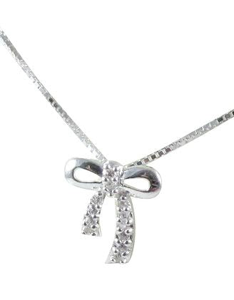 Children's Necklaces:  Sterling Silver, CZ Bow Necklaces