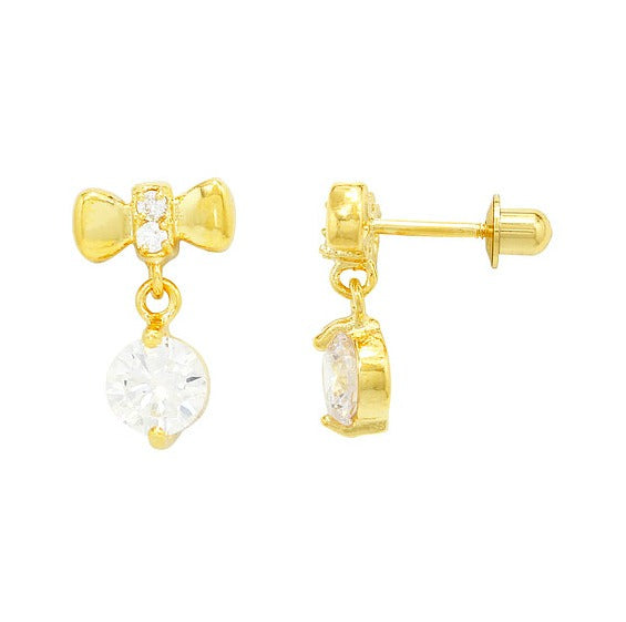 Children's Earrings:  18k Gold Filled Bow Dangle White CZ with Screw Backs