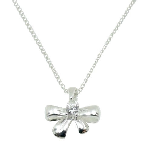 Baby and Children's Necklaces:  Sterling Silver Bow with CZ Necklaces