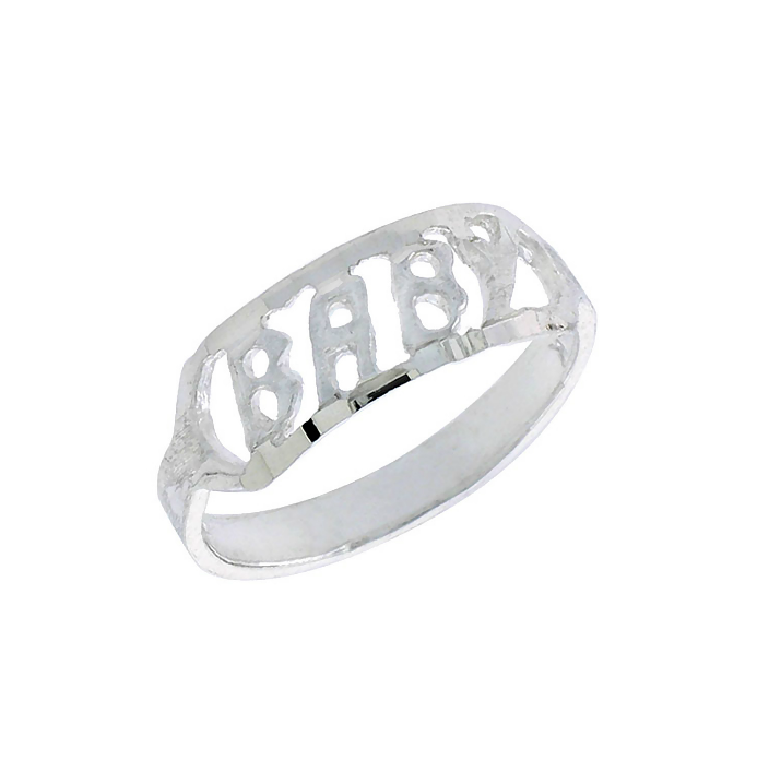 Baby and Children's Rings:  Sterling Silver B A B Y Rings sized 1 - 3
