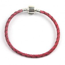Children's Bracelets:  Pink Woven Leather European Style Starter Bracelets