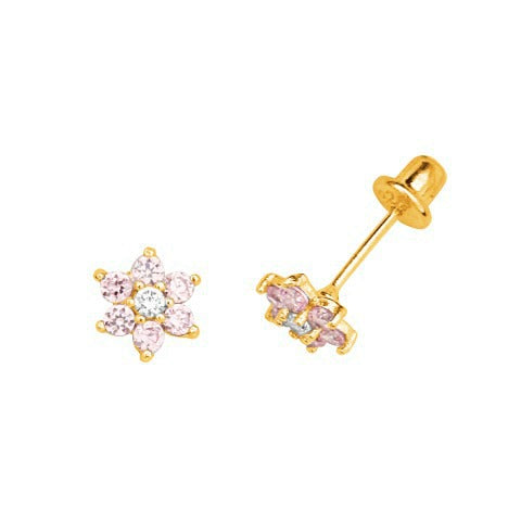 Baby and Children's Earrings:  Gold Plated, Pink CZ Flowers with Safety Screw Backs