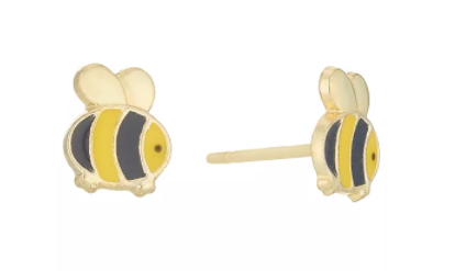 Baby and Children's Earrings:  9k Gold Bumble Bee Earrings with Gift Box