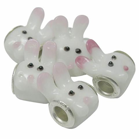 Baby and Children's Beads:  White Bunny Rabbit Glass Beads