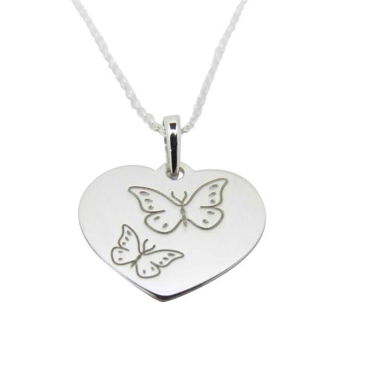 "Baby and Children's Necklaces:  Sterling Silver ""Heart with Butterflies"" Necklaces"
