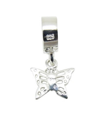 Mothers' Children's and Baby Beads:  Sterling Silver Dangling Butterfly Bead