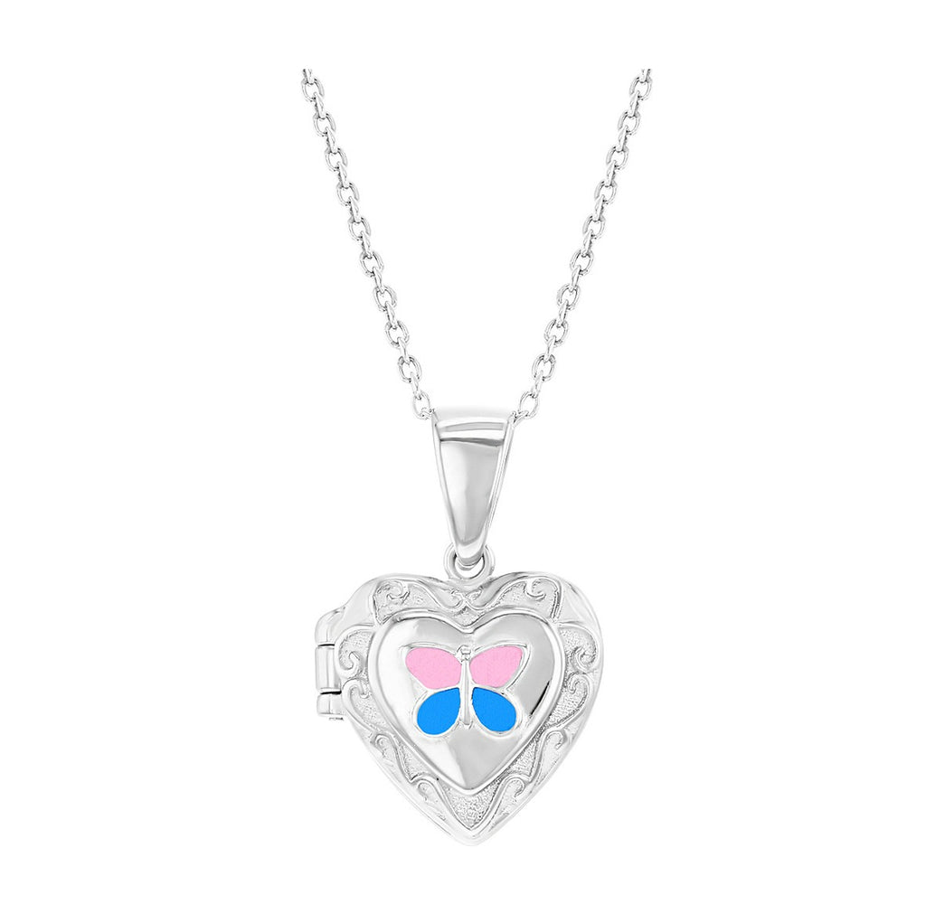15 Sterling Silver Childrens Petite Embossed Heart Locket Pendant Necklace