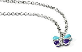 Children's Necklaces:  Sterling Silver, Enameled Butterfly Necklaces