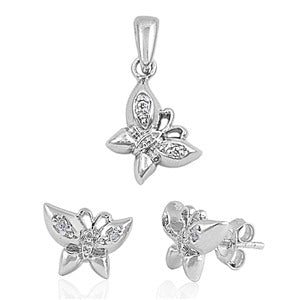 Children's Necklace and Earrings Sets:  Sterling Silver, Micropaved cz Butterfly Sets Incl. Chain