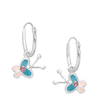 Childrens Earrings:  Sterling Silver Sleepers with Pink and Green Butterflies