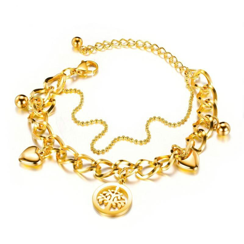 Children's, Teens' and Mothers' Bracelets:  Surgical Steel, Gold IP, Chunky, Layered, Charm Bracelets with Gift Box