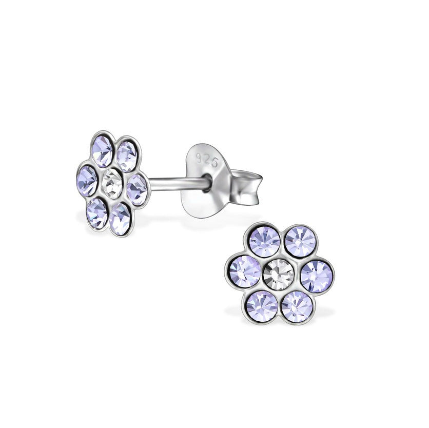 Baby and Children's Earrings:  Sterling Silver Lavender/White Crystal Flowers