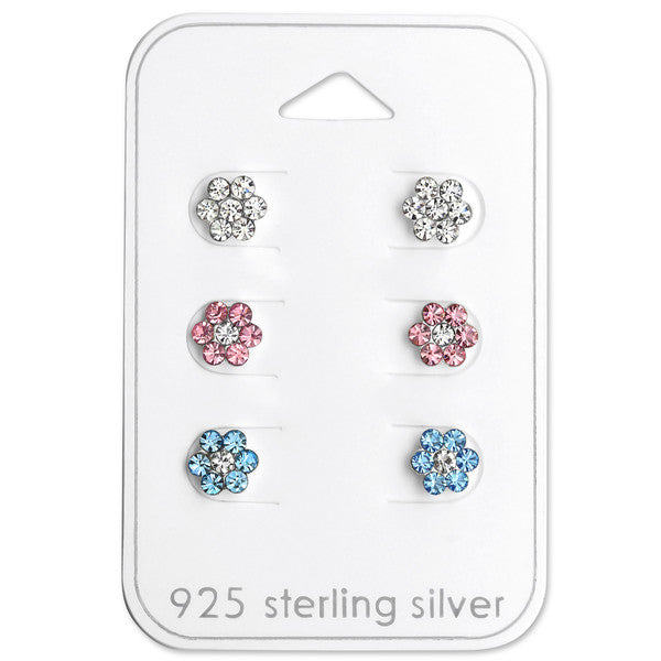 Baby and Children's Earrings:  Sterling Silver Gift Pack of 3 Pairs of Flower Earrings