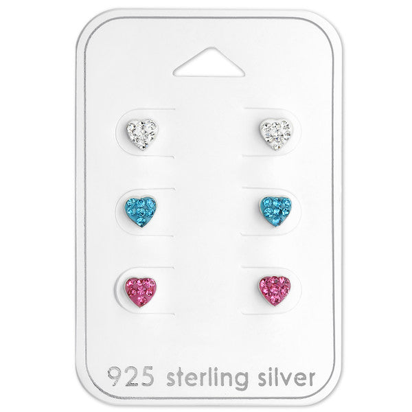 Baby and Children's Earrings:  Sterling Silver 3 x Bright Heart Earrings Gift Pack