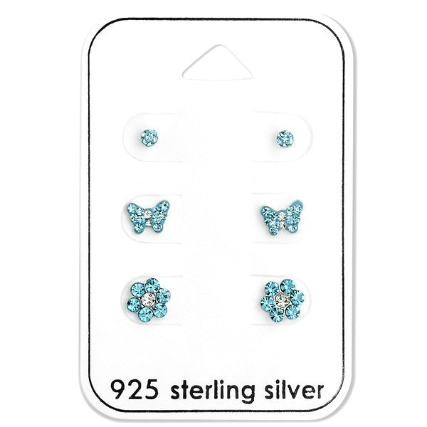 Baby and Children's Earrings:  Sterling Silver Blue CZ x 3 Pair Gift Pack
