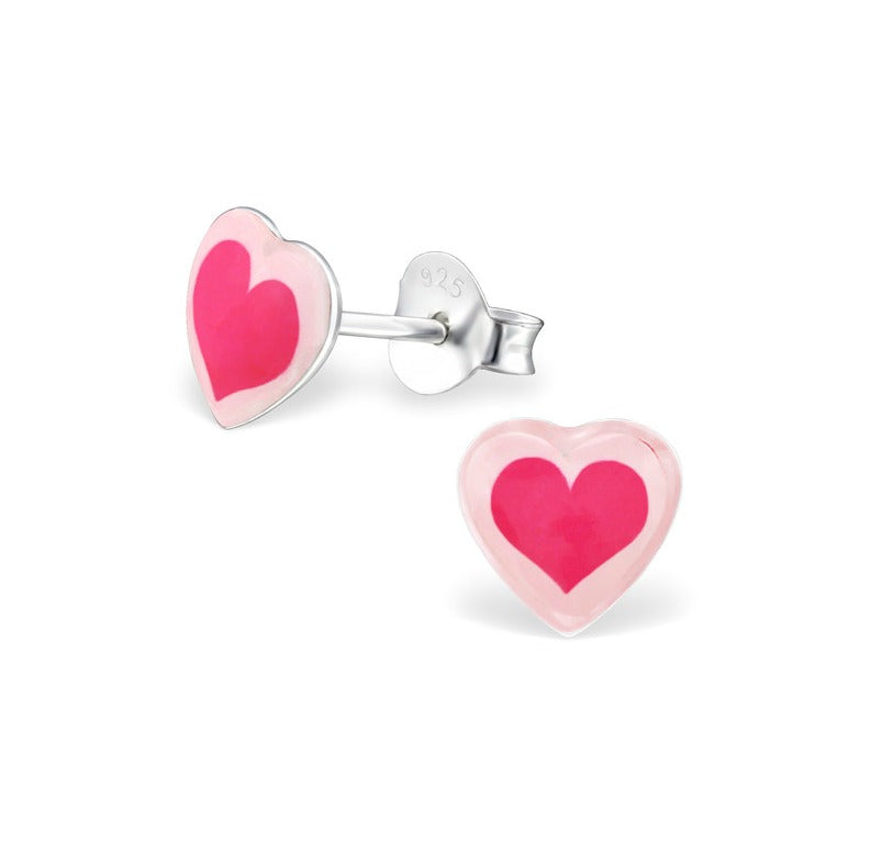 Children's Earrings:  Sterling Silver Bright Pink Heart Studs