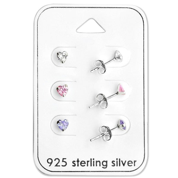 Baby and Children's Earrings:  Sterling Silver 3 x Heart Earrings Gift Pack