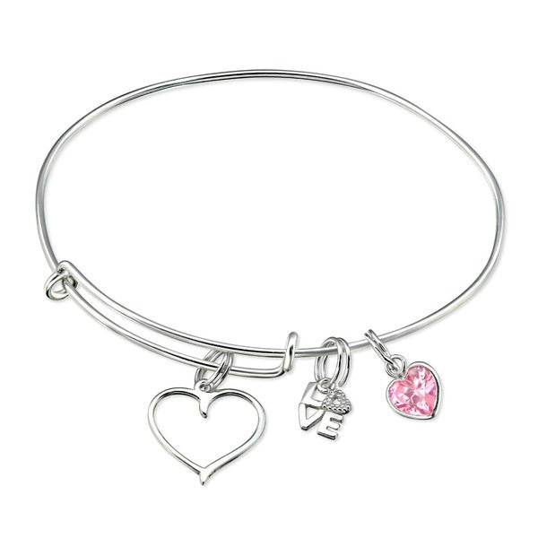 Children's Bangles:   Sterling Silver Children's Charm Bangles with Open Heart + 2 Charms