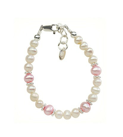 Baby Bracelets:  Sterling Silver, Freshwater Pearls in Pink and White for Newborns