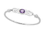 Children's Bangles:  Sterling Silver Premium Children's Bangle with Amethyst