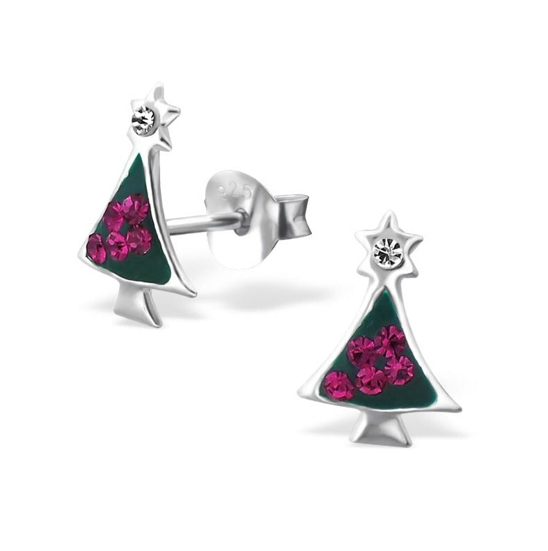 Children's Earrings:  Sterling Silver Christmas Tree with Star on Top Earrings