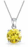 Children's, Teens' and Mothers' Necklaces:  Sterling Silver Solitaire Citrine CZ Necklace - November Birthstone