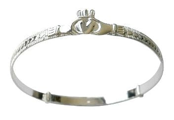 Children's Bangles:  Sterling Silver, Adjustable, Claddagh Bangles